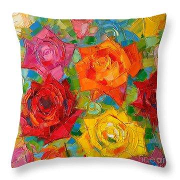 Mon Amour La Rose Throw Pillow by Mona Edulesco