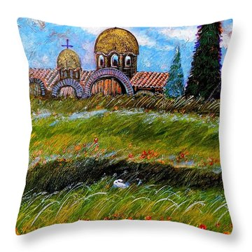 Monastery In Greece Throw Pillow by Ion vincent DAnu