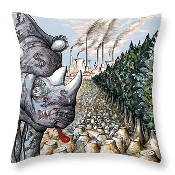 Money Against Nature - Cartoon Throw Pillow by Art America Online Gallery