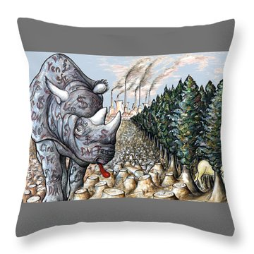 Money Against Nature - Cartoon Art Throw Pillow by Art America Online Gallery