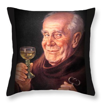 Monk With Wineglass And Key Throw Pillow by The Creative Minds Art and Photography