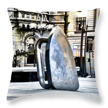 Monopoly Iron Statue In Philadelphia Throw Pillow by Bill Cannon