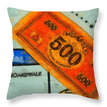 Monopoly Money Throw Pillow by Dan Sproul