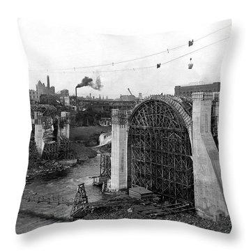 Monroe St Bridge Construction 1910 Throw Pillow by Daniel Hagerman