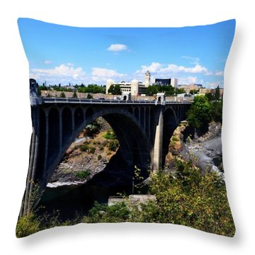 Monroe Street Bridge - Spokane Throw Pillow by Michelle Calkins