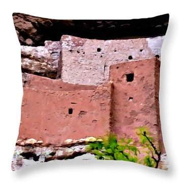 Montezuma Castle  Throw Pillow by Bob and Nadine Johnston