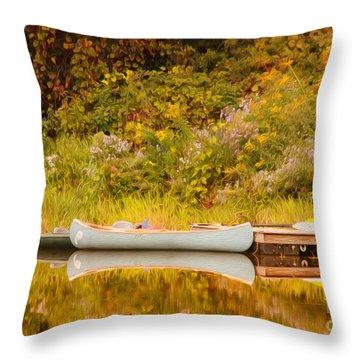 Montpelier Canoe Throw Pillow by Deborah Benoit