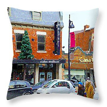 Montreal Memories Moishes Famous Steakhouse Restaurant On The Main Busy Winter Scene Carole Spandau Throw Pillow by Carole Spandau