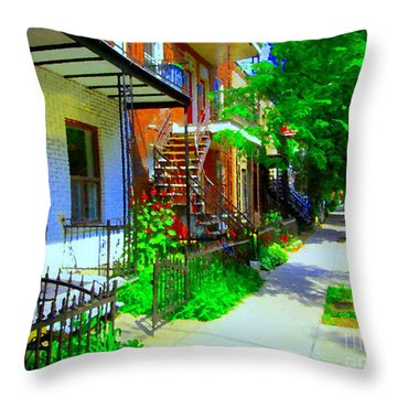 Montreal Stairs Shady Streets Winding Staircases In Balconville Art Of Verdun Scenes Carole Spandau Throw Pillow by Carole Spandau