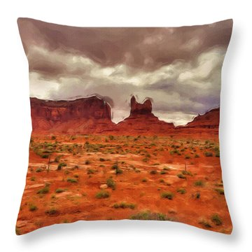 Monument Valley Throw Pillow by Ayse Deniz