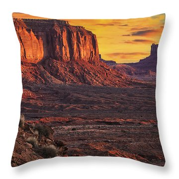Monument Valley Sunrise Throw Pillow by Priscilla Burgers