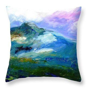 Moody Sky Over Eagle Hill In Spring  Throw Pillow by Trudi Doyle