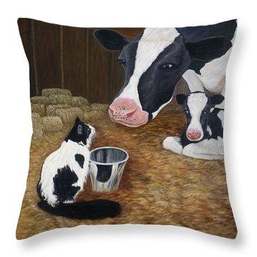 Mooeow Throw Pillow by Karen Zuk Rosenblatt