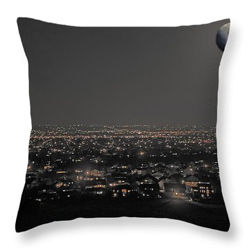Moon Over Fort Collins Throw Pillow by David Kehrli