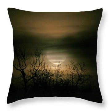 Moon Over Prince George Throw Pillow by Karen Harrison