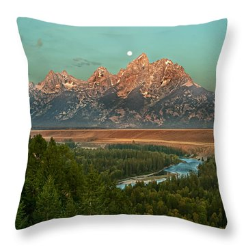 Moon Setting Throw Pillow by Robert Bales