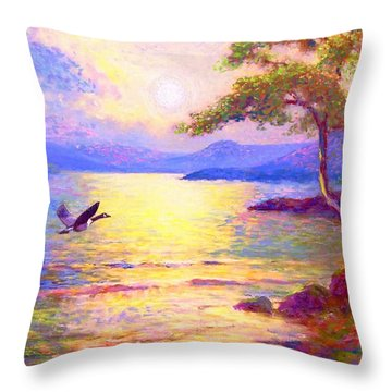 Wild Goose, Moon Song Throw Pillow by Jane Small