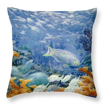 Moonlight Swim Throw Pillow by Deborah Younglao