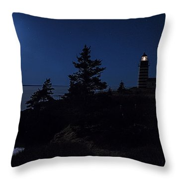 Moonlit Panorama West Quoddy Head Lighthouse Throw Pillow by Marty Saccone
