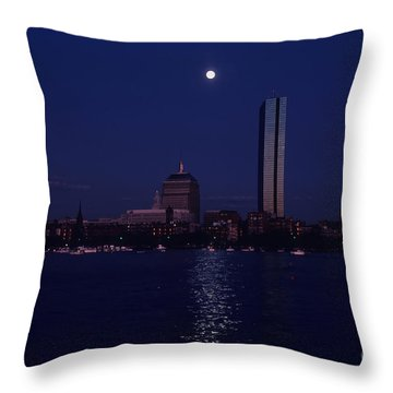 Moonrise Over Boston Skyline July 1982 Throw Pillow by Thomas Marchessault