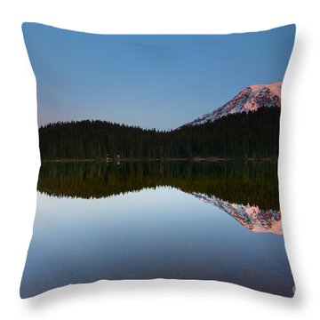Moonset Over Rainier Throw Pillow by Mike  Dawson