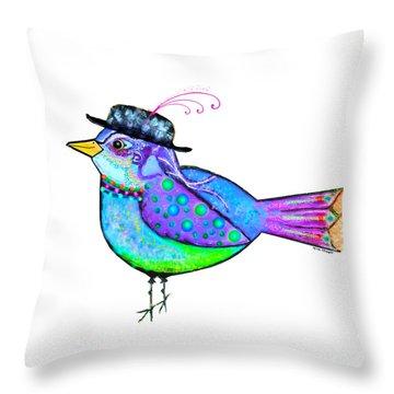 Moonworld Series - Birdy Bard Throw Pillow by Moon Stumpp