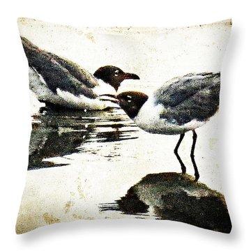 Morning Gulls - Seagull Art By Sharon Cummings Throw Pillow by Sharon Cummings