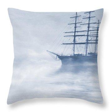Morning Mists Cyanotype Throw Pillow by John Edwards
