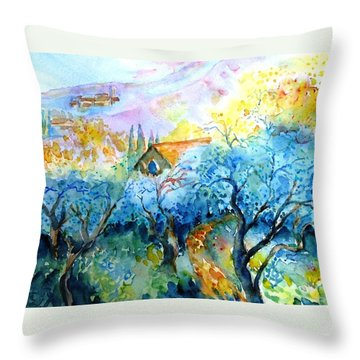 Morning Sunrise In A Tuscan Olive Grove Throw Pillow by Trudi Doyle