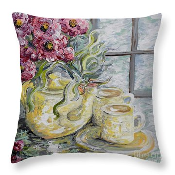 Morning Tea For Two Throw Pillow by Eloise Schneider