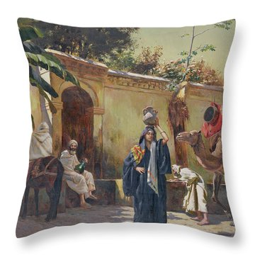 Moroccan Scene Throw Pillow by Rudolphe Ernst