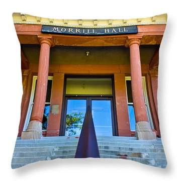 Morrill Hall On Michigan State Campus  Throw Pillow by John McGraw