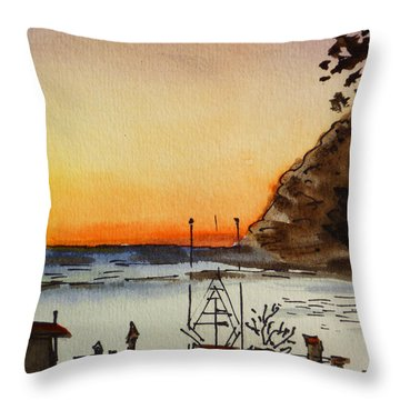 Morro Bay - California Sketchbook Project Throw Pillow by Irina Sztukowski