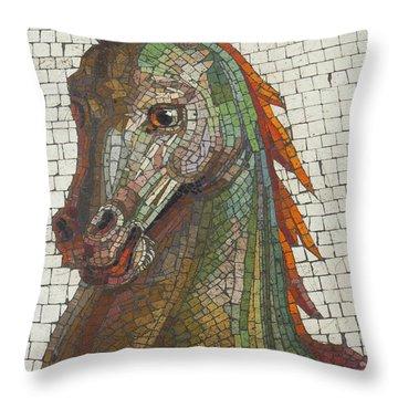 Mosaic Horse Throw Pillow by Marcia Socolik