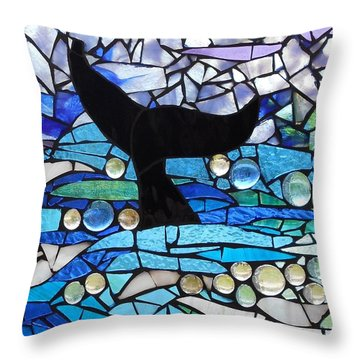 Mosaic Stained Glass - Whale Tail Throw Pillow by Catherine Van Der Woerd