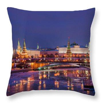 Moscow Kremlin And Big Stone Bridge At Winter Night - Featured 3 Throw Pillow by Alexander Senin