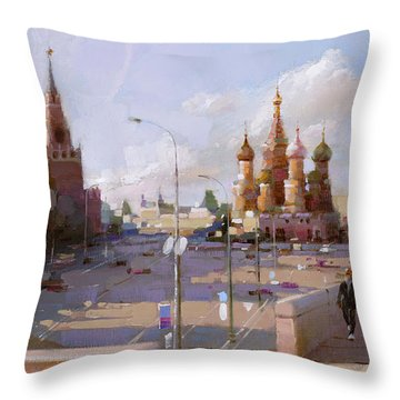 Moscow. Vasilevsky Descent. Views Of Red Square. Throw Pillow by Ramil Gappasov