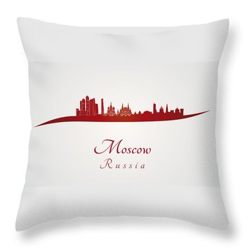 Moscow Skyline In Red Throw Pillow by Pablo Romero