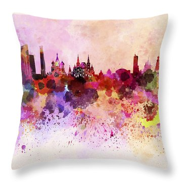 Moscow Skyline In Watercolor Background Throw Pillow by Pablo Romero