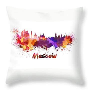 Moscow Skyline In Watercolor Throw Pillow by Pablo Romero