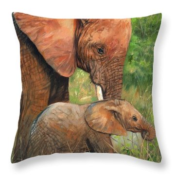 Mother Love 2 Throw Pillow by David Stribbling