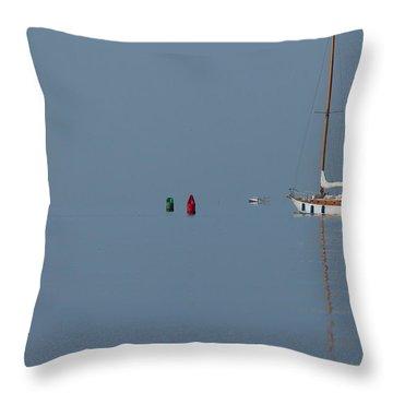 Motoring Sail Throw Pillow by Karol Livote