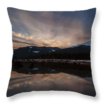 Mount Baker Sunset Throw Pillow by Mike Reid