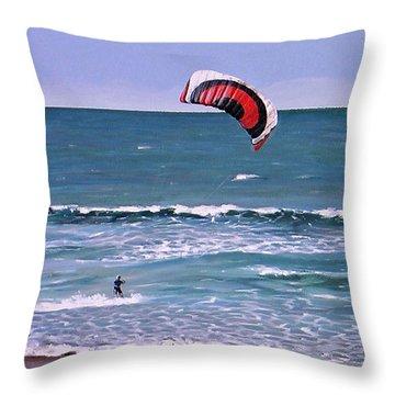 Mount Maunganui 160308 Throw Pillow by Sylvia Kula