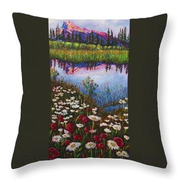 Mount Rundle At Sunset Banff Alberta Throw Pillow by Joyce Sherwin