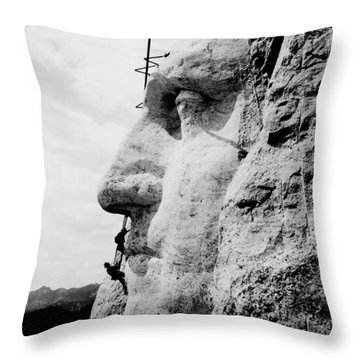Mount Rushmore Construction Photo Throw Pillow by War Is Hell Store
