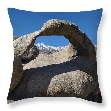 Mount Whitney Through Mobius Arch Throw Pillow by Sandra Bronstein