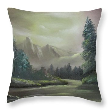 Mountain River Throw Pillow by Dawn Nickel