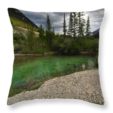 Mountain Scene Near A Small Pond In Kananaskis Country Alberta Canada Throw Pillow by Michael Mckinney