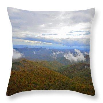 Mountain Seasons Throw Pillow by Susan Leggett